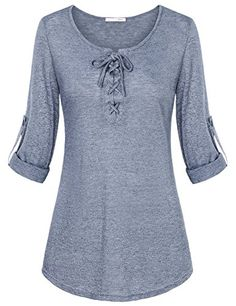 Messic Lace up Tops for Women, Women's Stylish Shirts Round Neck Long Sleeve Thin and Comfy Pullover Shirts(Large,Wine) Stylish Dress Designs, Stylish Dresses, Dress Shirts For Women, Blouses For Women, Casual Outfits, Fashion Outfits, Cool Outfits, Fashion Clothes, Lace Up T Shirt