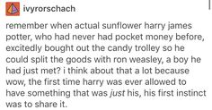 I love this so much. It speaks volumes about harry's character.