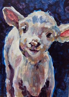"""Daily Painters Abstract Gallery: Colorful Contemporary Animal Art Paintings, Lamb """"Little Lilly"""" by Contemporary Animal Artist Patricia A. Griffin"""