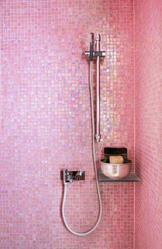 LOVE the pink glass tile! Bubblegum pink room Emily Henderson Design Color Trends 4 Bathroom Chew On This : Bubblegum Pink - Emily Henderson Pink Bathroom Tiles, Pink Tiles, Pink Bathrooms, Shower Bathroom, Brass Bathroom, Bathroom Vanities, Bathroom Ideas, Pink Showers, Pink Room