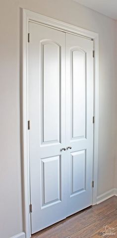 Turn your bi-fold door into French doors with this easy tutorial! It shows you exactly how to create your own custom closet with beautiful DIY French doors. This budget-friendly closet makeover will have a huge impact on your home! French Closet Doors, Folding Closet Doors, Bedroom Closet Doors, French Doors Patio, Diy Bedroom, Wood Closet Doors, Modern Closet Doors, French Doors Bedroom, Entryway Closet
