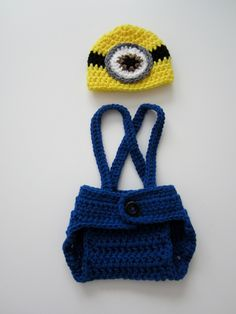 Crochet Newborn Baby Boy Girl Photo Prop Set Despicable Me Minion Hat Diaper Cover Overall Suspenders Made to Order. $30.00, via Etsy.