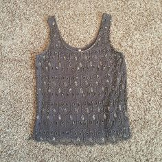 Beaded grey cute top Flowy date night style beaded work tank top. Very cute!! Looks new, no damages. Willow & Clay Tops Tank Tops