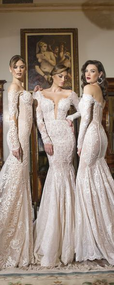 Shabi & Israel - Haute Couture 2016 Bridal Collection - Belle The Magazine Beautiful Wedding Gowns, Elegant Wedding Dress, Perfect Wedding Dress, Dream Wedding Dresses, Lace Wedding, Sophisticated Bride, Elegant Bride, Colored Wedding Dresses, Bridal Dresses