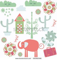 Travel  fantasy odd seamless pattern with elephant and suitcase. It is located in swatch menu, vector. Cute funny background