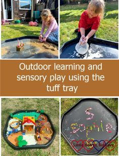 Outdoor learning and sensory play using the tuff tray - Little Hearts, Big Love Messy Learning, Outdoor Learning, Nature Collage, Tuff Tray, Small World Play, Parts Of A Flower, Splash Pad, Messy Play, Collage Making