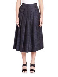 PAUW - Pleated Check Midi Skirt