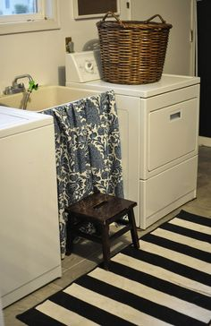 Uses for Tension Rods You've Never Thought Of - Laundry Sink Skirt! Laundry Tubs, Basement Laundry, Laundry Rooms, Laundry Area, Laundry Closet, Laundry Basket, Sink Cover, Diy Home Decor, Room Decor