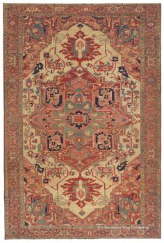 Serapi, 9ft 0in x 13ft 5in, Circa 1850. An amazingly beautiful antique carpet at very substantial age, this exceptional Northwest Persian Serapi rug stands alone in its painterly color palette, tremendous sharpness of motif and great balance of its design. So finely crafted as to appear chiseled rather than woven, this antique Persian carpet also offers an abundance of prized, difficult-to-dye natural colors, including a spacious ivory field.