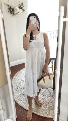 Banana Republic Factory Organic Cotton Tiered Midi Dress, size 0P