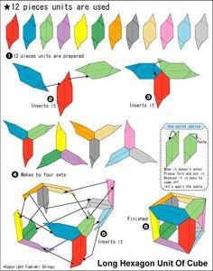 Origami Hexagon Unit Of Cube instructions Origami Cube, Kids Origami, Origami Ball, Origami Fish, Modular Origami, Origami Animals, Paper Crafts Origami, Oragami, Easy Origami Flower