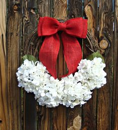 Winter White Hydrangea Wreath with Red Burlap Bow - Christmas Wreath - Grapevine Wreath - Christmas decor - Door Wreath - Rustic Wreath