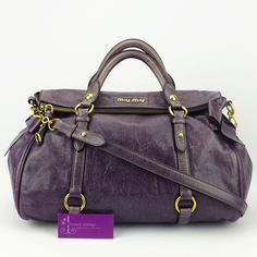 MIUMIU Bow Bag Purple Colour Lambskin With Gold Hardware Fair Condition Ref.code-(KKKY-1)