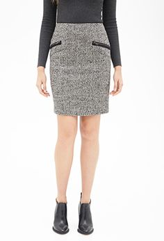 Gray Zippered Tweed Pencil Skirt   FOREVER21 - 2000084099 $25