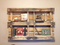 Wooden Pallet Shelves for above Mannings bed Wooden Pallet Shelves, Wooden Pallets, Pallet Crafts, Pallet Projects, Pallet Ideas, Small Woodworking Projects, Above Bed, Pallet Furniture, Creative Crafts