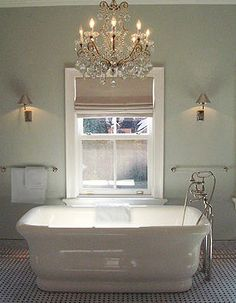 Interior design by Nate Berkus Home, Dream Bathrooms, Bathroom Inspiration, Bathroom Color, Bathroom Decor, Bathrooms Remodel, House, Bathroom Chandelier, Bathroom Design
