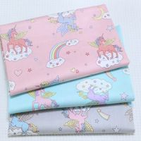 Pretty 50x160cm 3 Colors Cartoon Unicorn Horse Printed Cotton Fabric For DIY sewing Doll Cloth bedding quilting