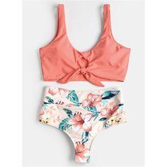 Sexy Swimsuit High Rise Knotted Floral Scrunch Bikini Set Swimwear Scoop Neck Padded Bathing Suit Beach Suit For Women Scrunch Bikini, Cute Swimsuits, Women Swimsuits, Mode Du Bikini, Cute Bathing Suits, Bikini Photos, Bra Styles, Bikini Swimwear, Bikini Top