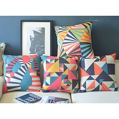 Set+of+4+Square+Tropical+Cotton/Linen+Decorative+Pillow+Cover+–+USD+$+49.99