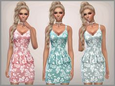 Set of 6 short peplum dresses for everyday and formal and party wear Found in TSR Category 'Sims 4 Female Everyday'