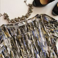 """FINAL PRICE NWT Carmen Marc Volvo top Beautiful shirt sleeve top in a watercolor pattern- shades of blacks, whites, yellows, greys and lilacs. Boat neck with a horizontal opening (see close up photos). Great top to wear right now! Approx. 17"""" across 22"""" long. Carmen Marc Valvo Tops"""