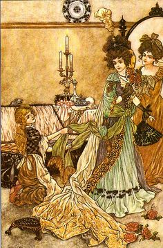 """Cinderella and Her Step-Sisters"" Written by Charles Perrault - Art by Charles Folkard - A Fairy Tale From England"