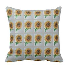 Sunflower Watercolour Design Pillow Throw Yellow - home gifts ideas decor special unique custom individual customized individualized
