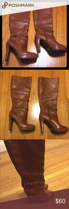 Jessica Simpson boots Cute, brown, high-heeled boots by Jessica Simpson. Boots have a natural slouch to them once on and the whiskey brown is a great color for fall and winter. Jessica Simpson Shoes Heeled Boots