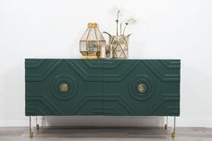 """Introducing our all new Naples Credenza in hunter green with 7"""" lucite legs.  54"""" Long/ 18"""" Deep/ 27"""" Tall  *To inquire about custom finish options, please c"""