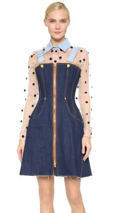 Natasha Zinko Структурированное платье из денима в стиле комбинезона