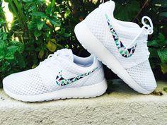 Womens Custom Nike Roshe Run sneakers, triangles, purple, pink, teal, blue trendy design, all white nike roshe.