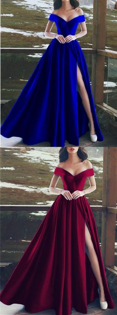 Charming V-neck Off The Shoulder Prom Dresses Long Satin Evening Gowns M3548