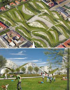 Walkable Green Roofs Hill Apts Sweden
