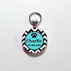 Custom Made DOG ID TAG, Pet Tag,  Your Dog's Name with Phone number, Personalized Dog Tag, Dog Tag, Teal and Black Dog tag by annmariesisters3 on Etsy