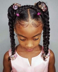 Some new 30 min hairstyle inspiration for the mommys who can not cornrow! I got … Some new 30 min hairstyle inspiration for the mommys who can not cornrow! I got ya! 💪🏾 Janelle looks sooooo extremely cute with this style! Easy Little Girl Hairstyles, Black Kids Hairstyles, Baby Girl Hairstyles, Natural Hairstyles For Kids, Kids Braided Hairstyles, Natural Hair Styles Kids, Ethnic Hairstyles, Party Hairstyles, Young Girls Hairstyles