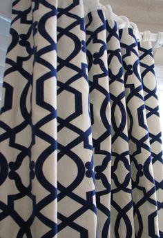 Pair of Decorative Designer Custom Curtains Drapes Navy on Cream Lattice 50 x 96 with Velvet detail. $275.00, via Etsy.