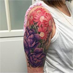 #Tattoo 30 Nice Daisy Flower Tattoos tatuajes | Spanish tatuajes |tatuajes para mujeres | tatuajes para hombres | dise�os de tatuajes amzn.to/28PQlav, Click to See More...