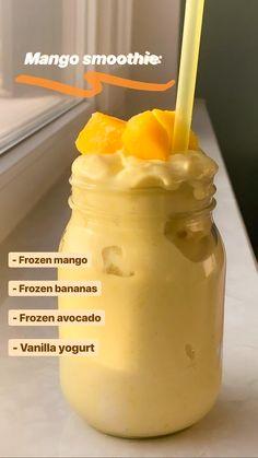 Fruit Smoothie Recipes, Yummy Smoothies, Yummy Drinks, Healthy Drinks, Yummy Food, Healthy Recipes, Diet Drinks, Healthy Food, Healthy Eating