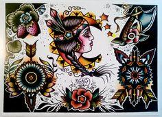 Native American Tattoo Flash Folk Art Print By Holly Danesi on Etsy, $11.10 AUD