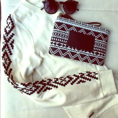 Tribal embroidered pull over Elegant colors  and design. Yet comfy! This is for that effortless look. Pullover light weight sweater. Long sleeve cuffed hem and sleeves. Crew neck. Relaxed fit. NWOT Ralph Lauren Sweaters Crew & Scoop Necks