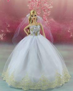 White Fashion Princess Party Dress/Wedding Clothes/Gown+Veil For Barbie Doll K02   eBay