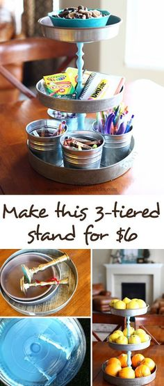DIY 3-Tiered Stand with Thrifted material - Perfect for parties, home decor or craft organization!