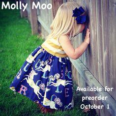 Super cute  Molly Moo Navy carrousel dress!    https://www.facebook.com/mollymoobowtique