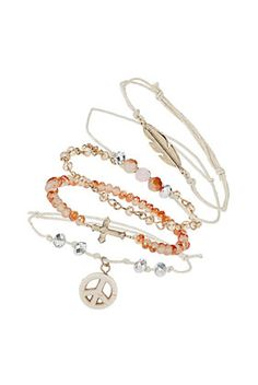 Cross Heart Leaf Bracelet Pack