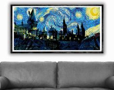 Hogwarts Print, Starry Night Print, Harry Potter Print, Harry Potter Wall Art Decor, Printable Art, Nursery Decor, Harry Potter Art, Print 6
