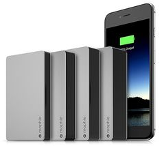 Mophie Powerstation Plus - PowerStation Plus, the new line of slim, quick-charge external batteries from Mophie are offered in 4 sizes, featuring hideaway integrated cables and an aluminum finish. Battery capacities from 3000mAh up to 12000mAh are available. | Werd