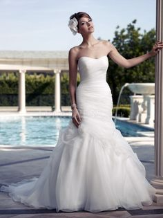 Fit N Flare Organza Scoop Asymmetric Waist Chapel Train Timeless Wedding Dress