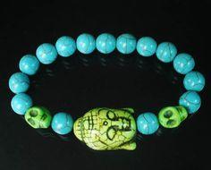 Howlite Turquoies Buddhist Buddha Head Skull Blue Ball Beads Stretch Bracelet