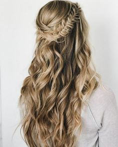 Wedding Hair Down Braids half up half down hairstyle , boho hairstyle ,updo ,wedding hairstyles Half Up Half Down Hair Prom, Wedding Hairstyles Half Up Half Down, Wedding Hair Down, Wedding Hair And Makeup, Wedding Braids, Hairstyle Wedding, Bridal Hair Half Up With Veil, Prom Hair With Braid, Boho Wedding Hair Updo