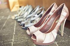 Bride shoes match bridesmaid dress. Bridesmaids have different styles shoes but same color.